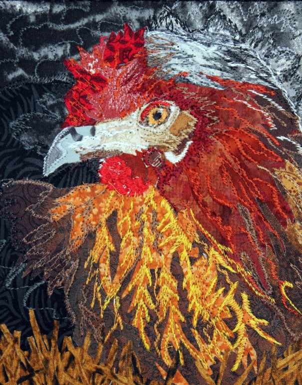 close up of chicken quilt